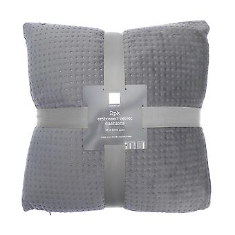 Country Club 2 Pack Velvet Cushions, Grey