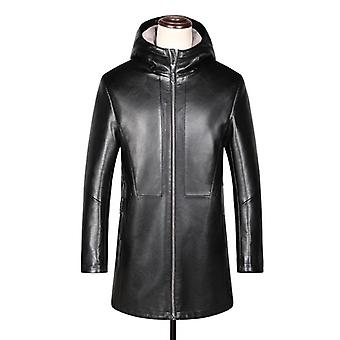 Sewn mens fur lined 3/4 length hooded leather coat