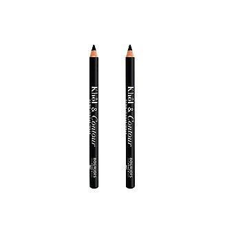 2 x Bourjois Paris Khol und Contour Eyeliner Extra-Long Wear - 001 Noir-issime