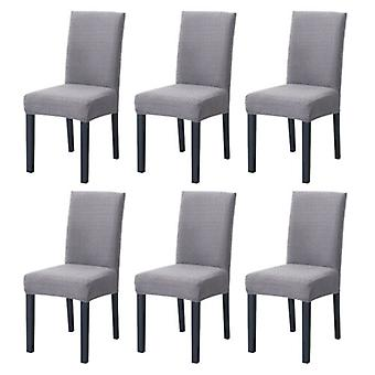 6pcs Knitted Twill Stretch Dining Room Chair Cover For Wedding Banquet