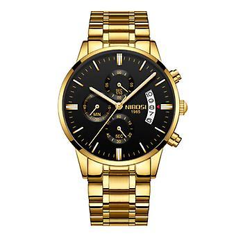 Nibosi Steel Watch for Men - Luxury Strap Anologue Movement for Men Quartz Gold