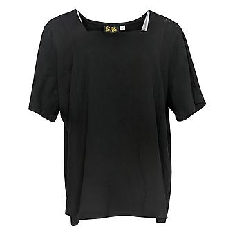Bob Mackie Women's Top Short Sleeve Square Neck Black A292288