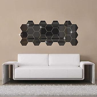 Hexagonal 3d Mirror, Wall Stickers