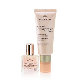 Nuxe gave sæt: creme prodigieuse boost multi korrektion silkeagtig creme 40ml + huile prodigieuse florale multi formål tør olie 10ml 257028 2stk