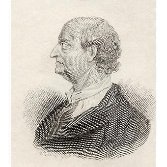 George Edwards 1694 till 1773 engelska Naturalist och ornitolog från Crabbs historisk ordbok publiceras 1825 PosterPrint