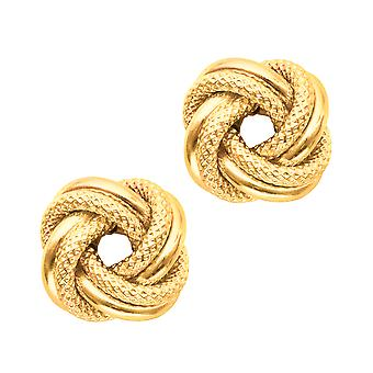 14 k geel gouden glanzend en getextureerde dubbele rij liefde knoop Stud Oorbellen van ebben hout 10mm