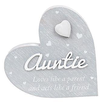 Joe Davies Cherished Hearts Cool Grey Standing Heart Ornament - Auntie