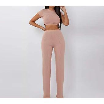 Naiset ribbiresori O kaulan leikkaus toppi ja pitkät housut set, seksikäs syksy lyhyt hiha