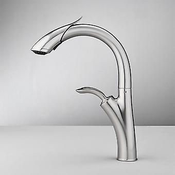 Kitchen Sink Pull Out Hoses And Slider Bar Faucet With Swivel Shower And Sprayer Modes