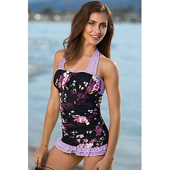 Cute Purple Floral Open Back Ruched Halter Top Shorts Tankini Set