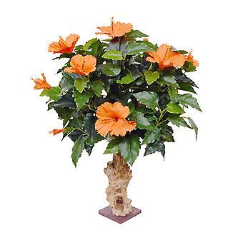 Sztuczna roślina Hibiskusa 65 cm pomarańczy na podstawie