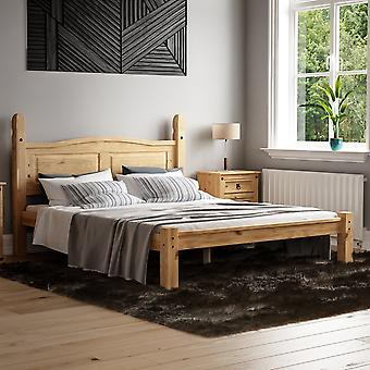 Corona King Size Bed Low Foot End 5ft Mexican Solid Waxed Pine