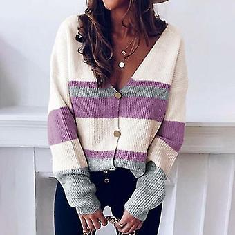 Women Vintage Striped Autumn Winter Short Cardigan