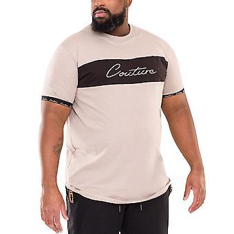 Duke D555 Mens Falcon Big Tall King Size Couture Curved Hem T-Shirt Top Stone