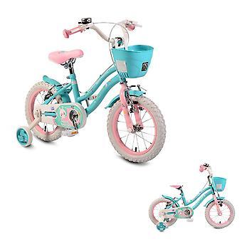 Byox barnens cykel 14 tum 1483 turkos, stödhjul, Bell, främre korg V-bromsar