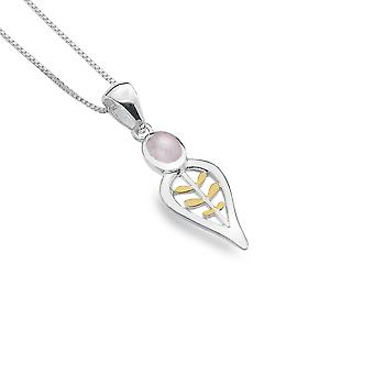 Sterling Silver Pendant Necklace - Origins Leaves + Gold Plated + Rose Quartz