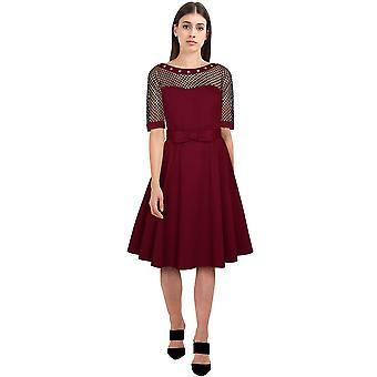 Chic Star Plus Size Fishnet kjole i vin / stud