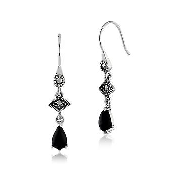 Art Deco Style Black Onyx  Cabochon & Marcasite Drop Earrings in 925 Sterling Silver 214E664202925