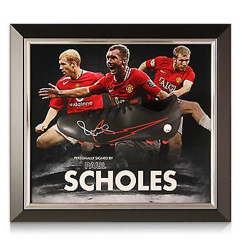 Paul Scholes Signed Football Boot. Framed