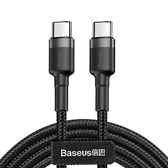 Baseus 60W USB-C to USB-C Charging Cable 2 Meter Braided Nylon - Tangle Resistant Charger Data Cable Black