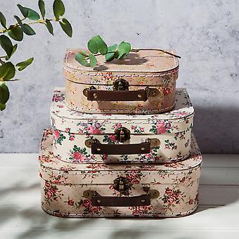 3 Opbevaring Kufferter Vintage Rose | Sass &belle box dekorative sager Home Gift