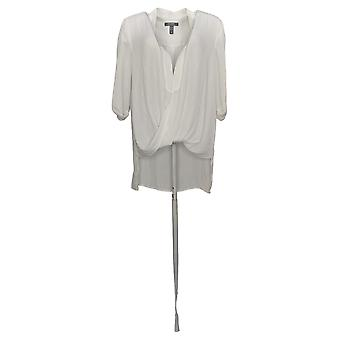 Lisa Rinna Collection Women's Top Twist Front Blouse Ivory A278424