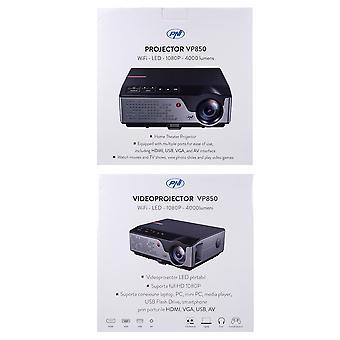 PNI VP850 WiFi-Videoprojektor, 1080p, mit LED-Lampe, 4000 Lumen, Air Play, Miracast, Multimedia-Player, Keystone