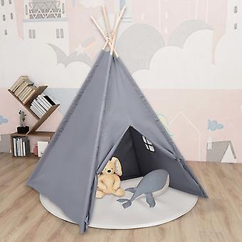 vidaXL خيمة تيبي للأطفال مع حقيبة الخوخ الجلد الرمادي 120x120x150 سم