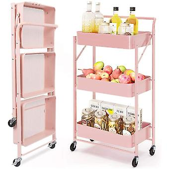 FengChun Werkzeug- oder Küchenrollwagen Klappbar, 3 Ebenen Servierwagen, Metall Rollwagen