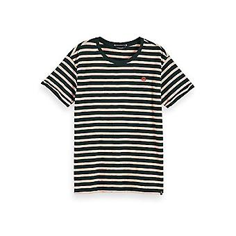 Scotch & Organic Soda Easy Stripe Tee with Chest Embroidery T-Shirt, Combo A-0217, M Woman