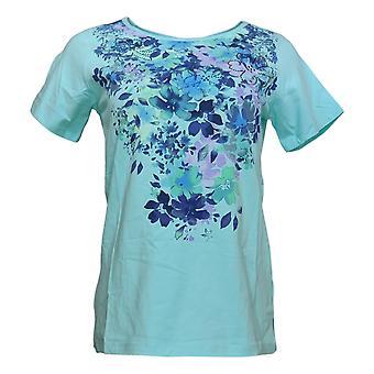 Quacker Factory Women's Top Floral Print Short Sleeve Jersey Aqua A351159