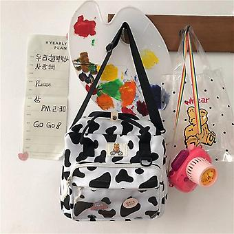 Lovely Cow Spotted Women Backpack Suede Multi-function Travel School Bag