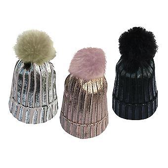 3x Ribbad stickad vinterbeanie bobble hatt med elegant metallfolie - olika