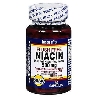 الفيتامينات الأساسية الفيتامينات الأساسية النياسين فلوش الحرة, 500 ملغ, 60 قبعات