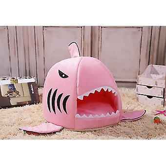 Pink 52x38cm cute funny shark shape pet kennel warm dog house dog-hole cat kennel homi2516