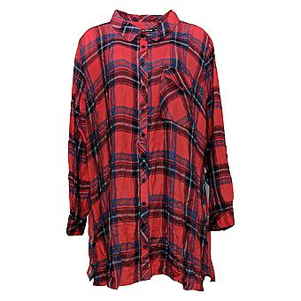 Tolani Collection Women's Plus Top 3X Plaid Tunic w/Print Back Red A383438
