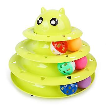 Cat Toy Roller 3-level Turntable Cat Toy Balls With Six Colorful Balls