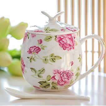 السيراميك القهوة القدح مع غطاء وملعقة أنيقة العظام الصين فنجان القهوة مجموعات 450ml السيراميك (الوردي)