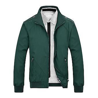 YANGFAN Miesten Löysä Solid Color Jacket Rento Full Zip Up Stand Kaulus takki