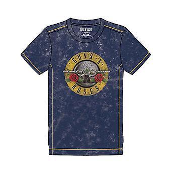 Guns N Roses T Shirt Classic Band Logo new Official Mens Navy Blue Snow Wash
