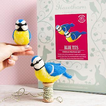Premium britische Wolle Nadel Filzen Kits - blaue Titten