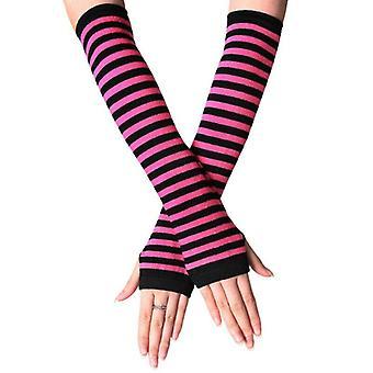(Svart och Rose Red) Kvinnors Stretchiga Armbåge Fingerlösa Långa Handskar Randiga Arm Handled Varmare Vantar