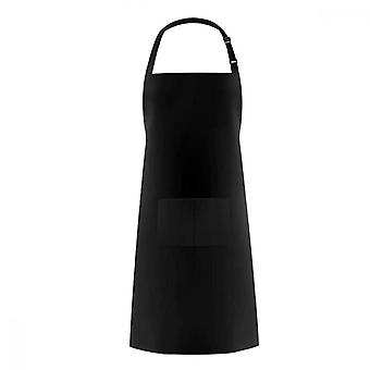 Black Kitchen Bib Apron, Adjustable Wash Dishes Waterproof Apron With 2 Pockets For Kitchen Garden Farmhouse Pockets Dog Groomers Aprons Fit Women And