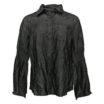 DG2 by Diane Gilman Women's Top Button-Up Denim Bell Sleeve Grijs 648402
