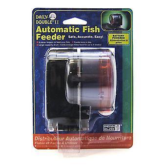 "Penn Plax Daily Double II Automatic Fish Feeder - 3.5""L x 3.5""W x 4""H"