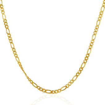 2.8mm 14k Yellow Gold Solid Figaro Chain