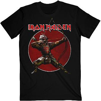 Iron maiden unisex t-skjorte: senjutsu eddie archer rød sirkel