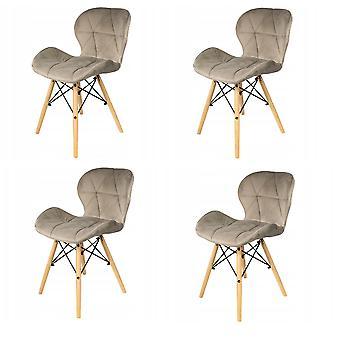 Eetkamer stoelen set van 4 velours beige Scandinavisch design