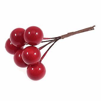 LAST FEW - 6 selecciones individuales de bayas con cable de 9 cm para artesanías de floristería navideña