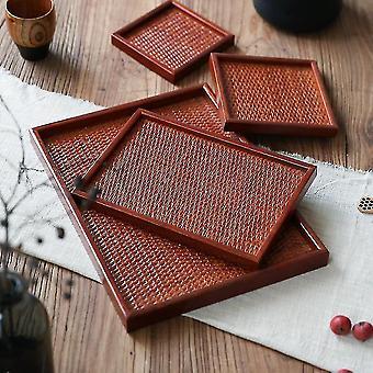 Decorative trays handmade wooden rattan household storage tray d.40X30cm